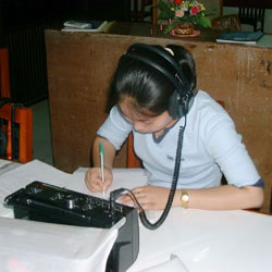 A girl working in the Language Lab
